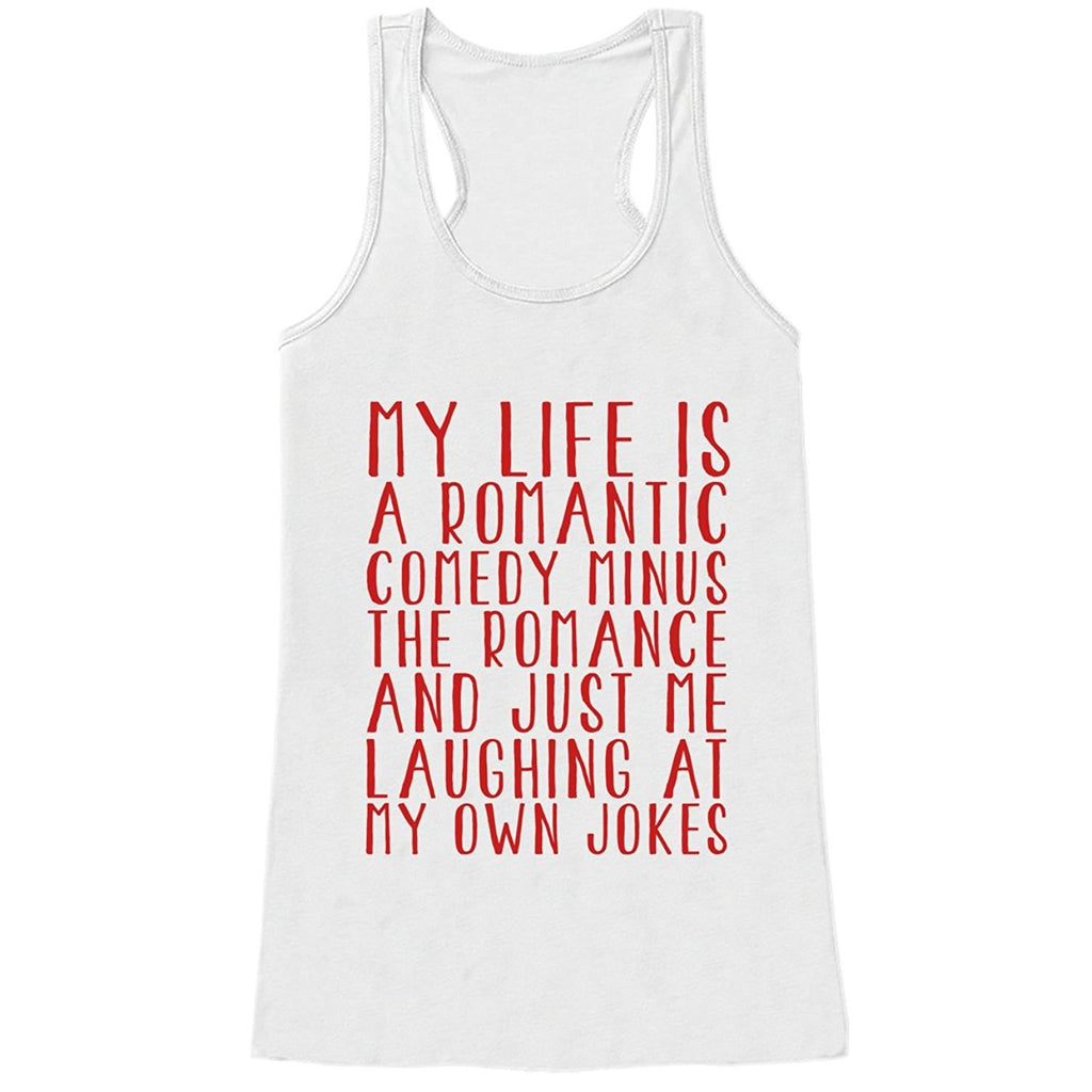 7 ate 9 Apparel Womens Life is a Rom Com Funny Valentine's Day Tank Top