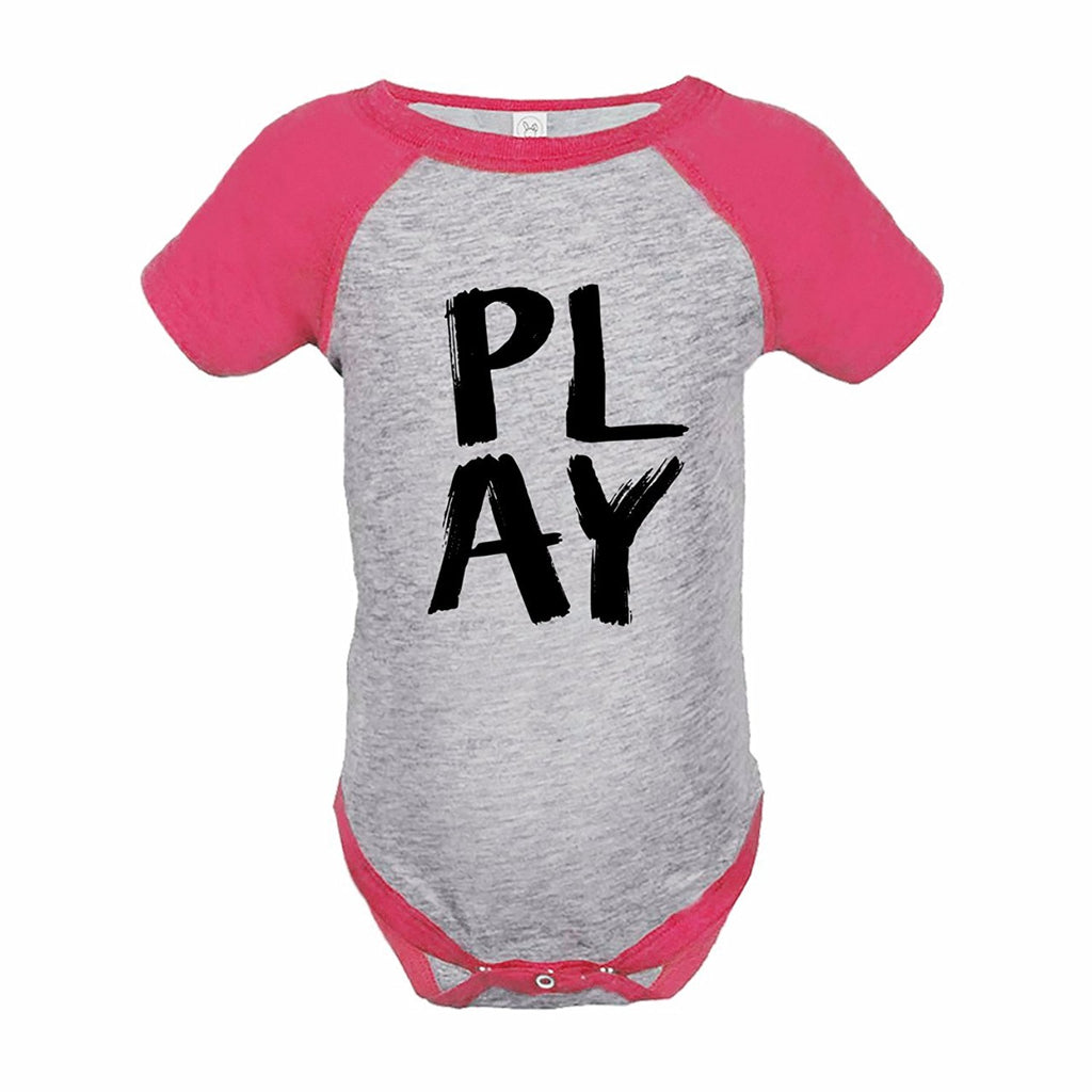 7 ate 9 Apparel Funny Kids Play Baseball Onepiece Pink