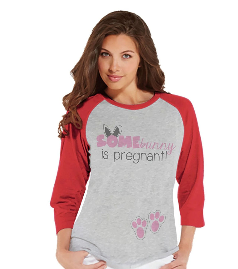 7 ate 9 Apparel Womens Bunny Pregnancy Reveal Easter Raglan Shirt