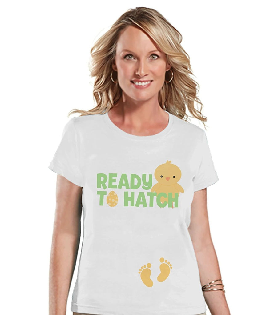 7 ate 9 Apparel Womens Ready to Hatch Pregnancy Reveal t-shirt