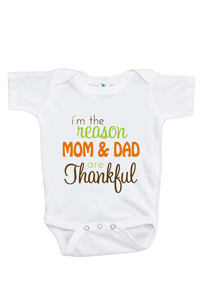 7 ate 9 Apparel Unisex Baby I'm The Reason Mom & Dad are Thankful Onepiece