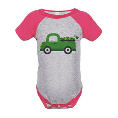 7 ate 9 Apparel Girls Green Truck St. Patricks Day Grey Onepiece