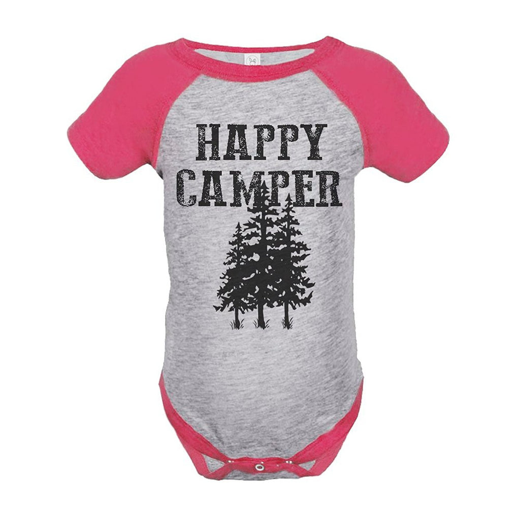 7 ate 9 Apparel Girl's Happy Camper Outdoors Raglan Onepiece