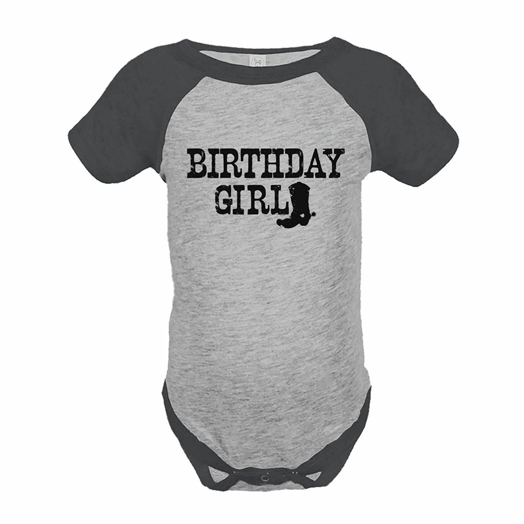 7 ate 9 Apparel Girl's Cowgirl Birthday Grey Raglan Onepiece