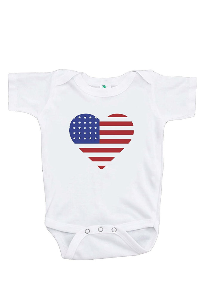 7 ate 9 Apparel Kids Heart Flag 4th of July Onepiece