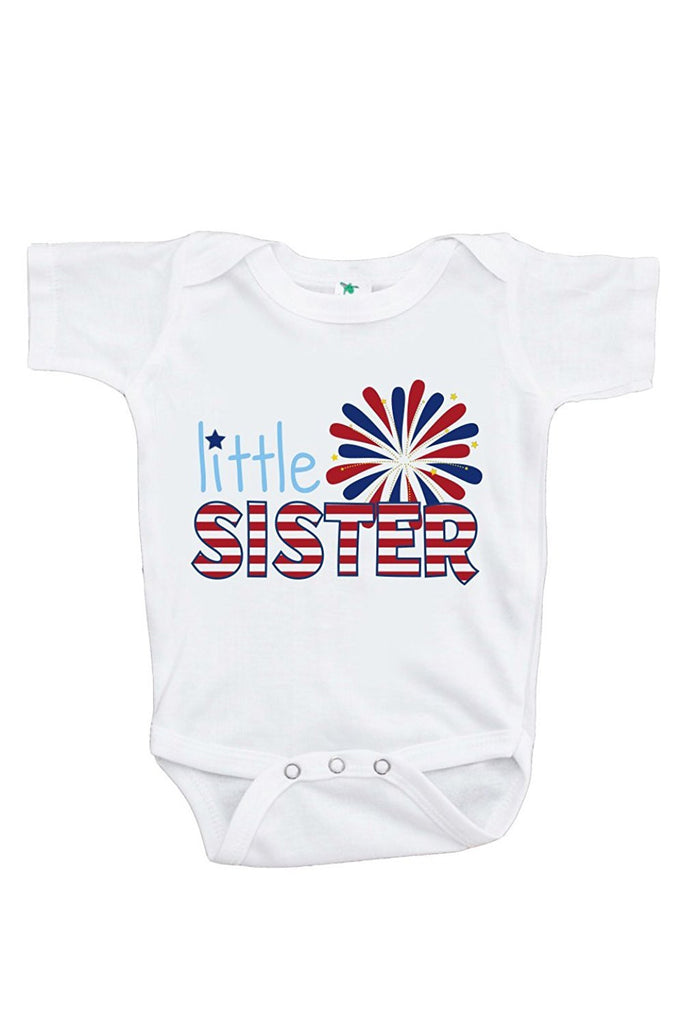 7 ate 9 Apparel Baby Girls' Little Sister 4th of July Onepiece