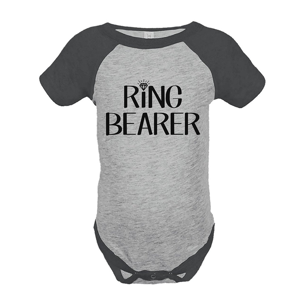 7 ate 9 Apparel Baby Boy's Ring Bearer Wedding Grey Raglan Onepiece