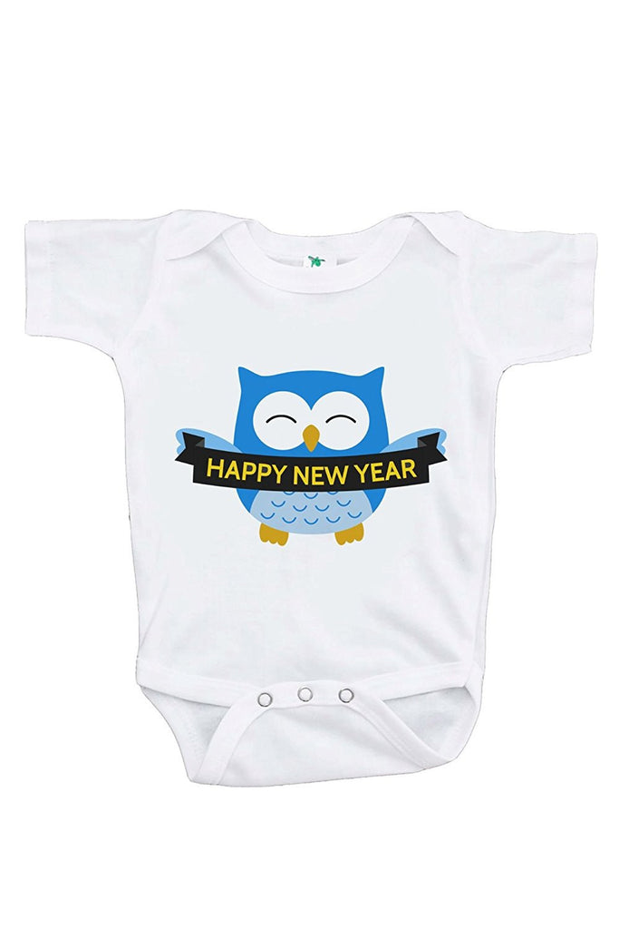 7 ate 9 Apparel Baby's Owl Happy New Year Onepiece