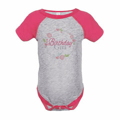 7 ate 9 Apparel Girl's Floral Birthday Pink Raglan Onepiece