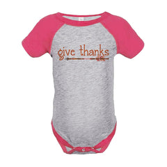 7 ate 9 Apparel Baby's Give Thanks Thanksgiving Onepiece