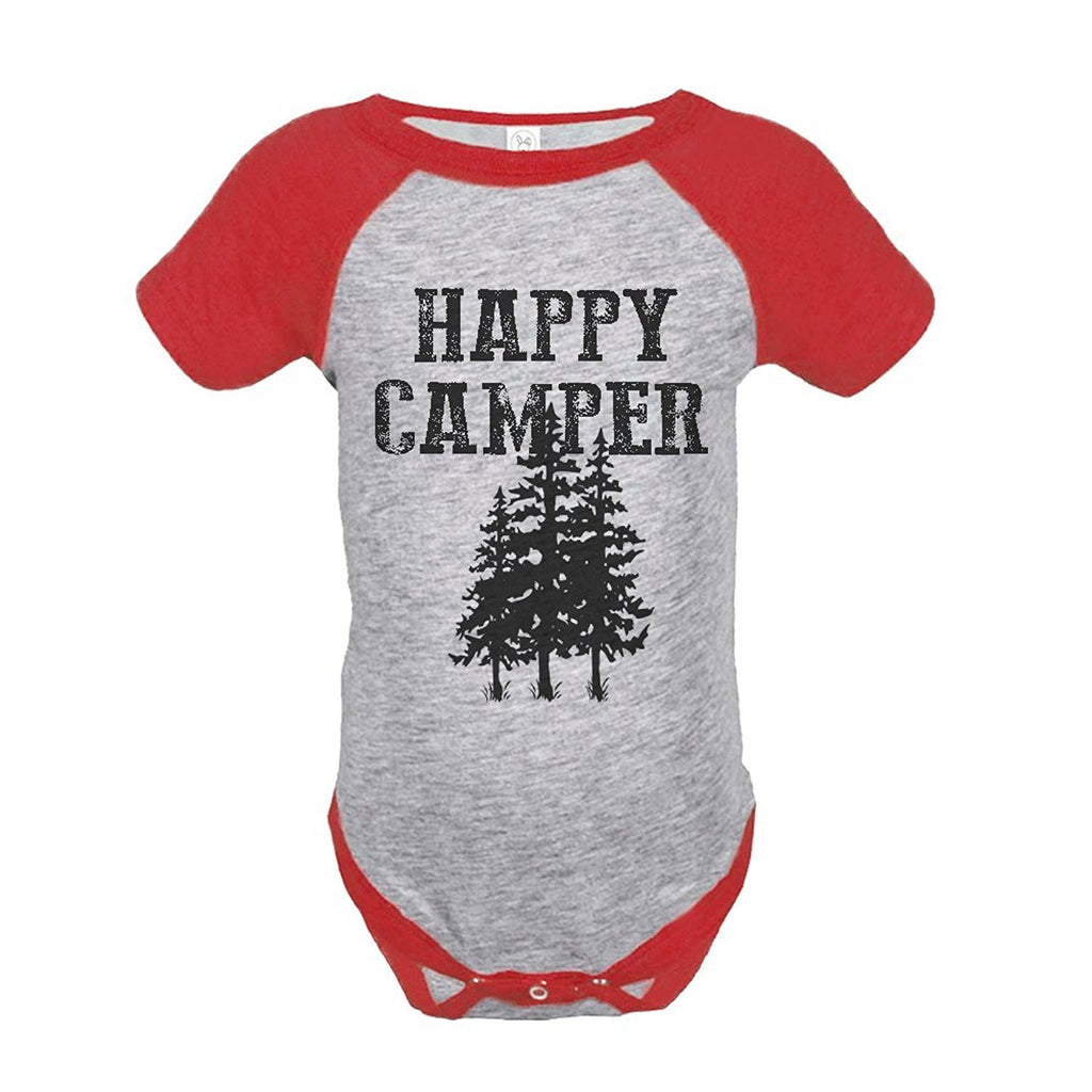 7 ate 9 Apparel Unisex Happy Camper Outdoors Raglan Onepiece