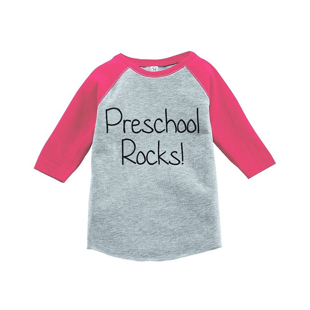 7 ate 9 Apparel Girls Preschool Rocks School Raglan Tee