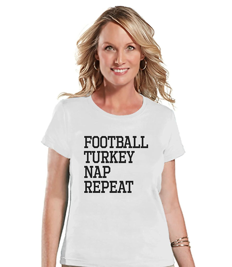7 ate 9 Apparel Women's Football Turkey Nap Repeat Thanksgiving T-shirt