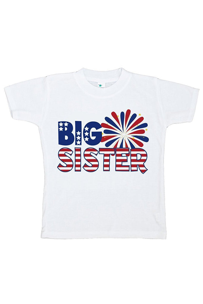 7 ate 9 Apparel Girls' Big Sister 4th of July T-shirt