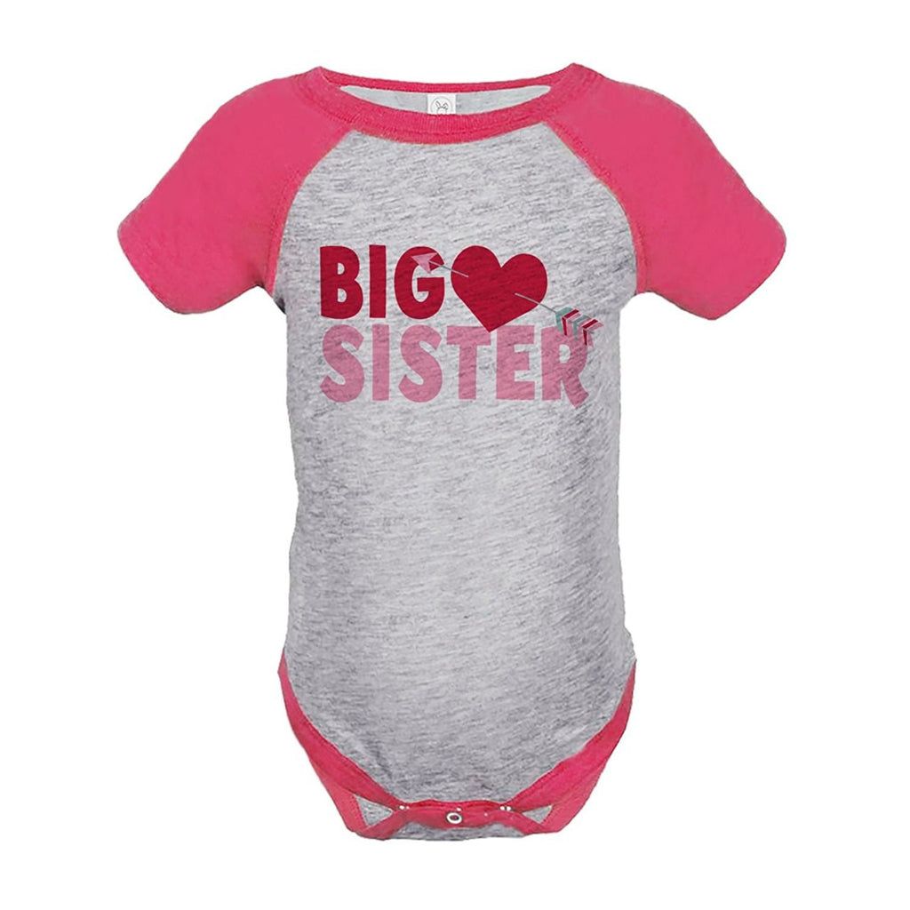 7 ate 9 Apparel Girl's Big Sister Happy Valentine's Day Pink Onepiece