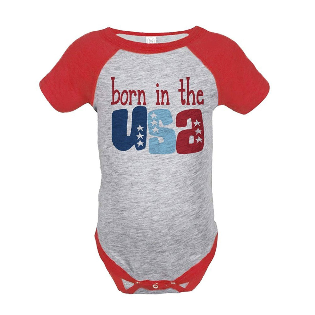 7 ate 9 Apparel Born in the USA 4th of July Raglan Onepiece
