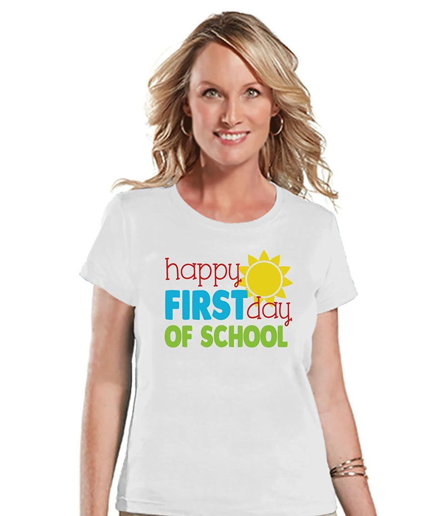 7 ate 9 Apparel Womens First Day of School Teacher T-shirt