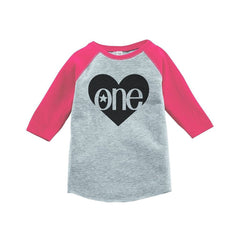 7 ate 9 Apparel Girls' First Birthday One Vintage Baseball Tee 2T Grey and Pink