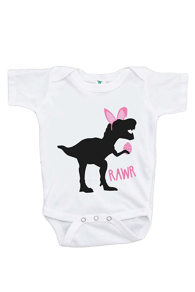 7 ate 9 Apparel Baby Girls Dinosaur Happy Easter Onepiece