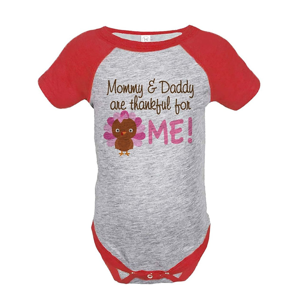 7 ate 9 Apparel Baby Girl's Thankful For Me Thanksgiving Onepiece