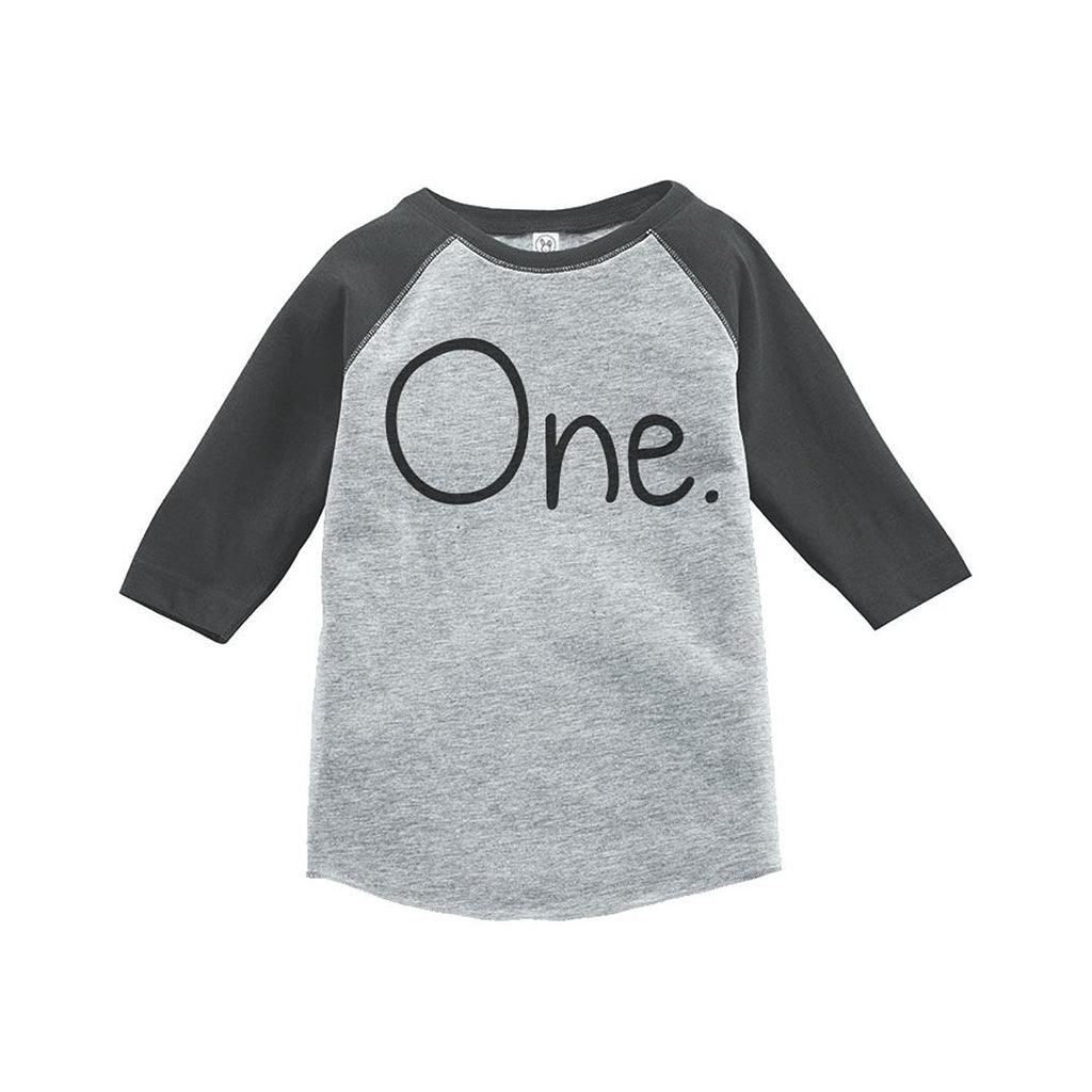 7 ate 9 Apparel Boy's First Birthday One Vintage Baseball Tee 2T Grey and Black