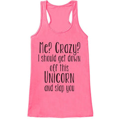 7 ate 9 Apparel Womens Crazy Unicorn Funny Tank Top