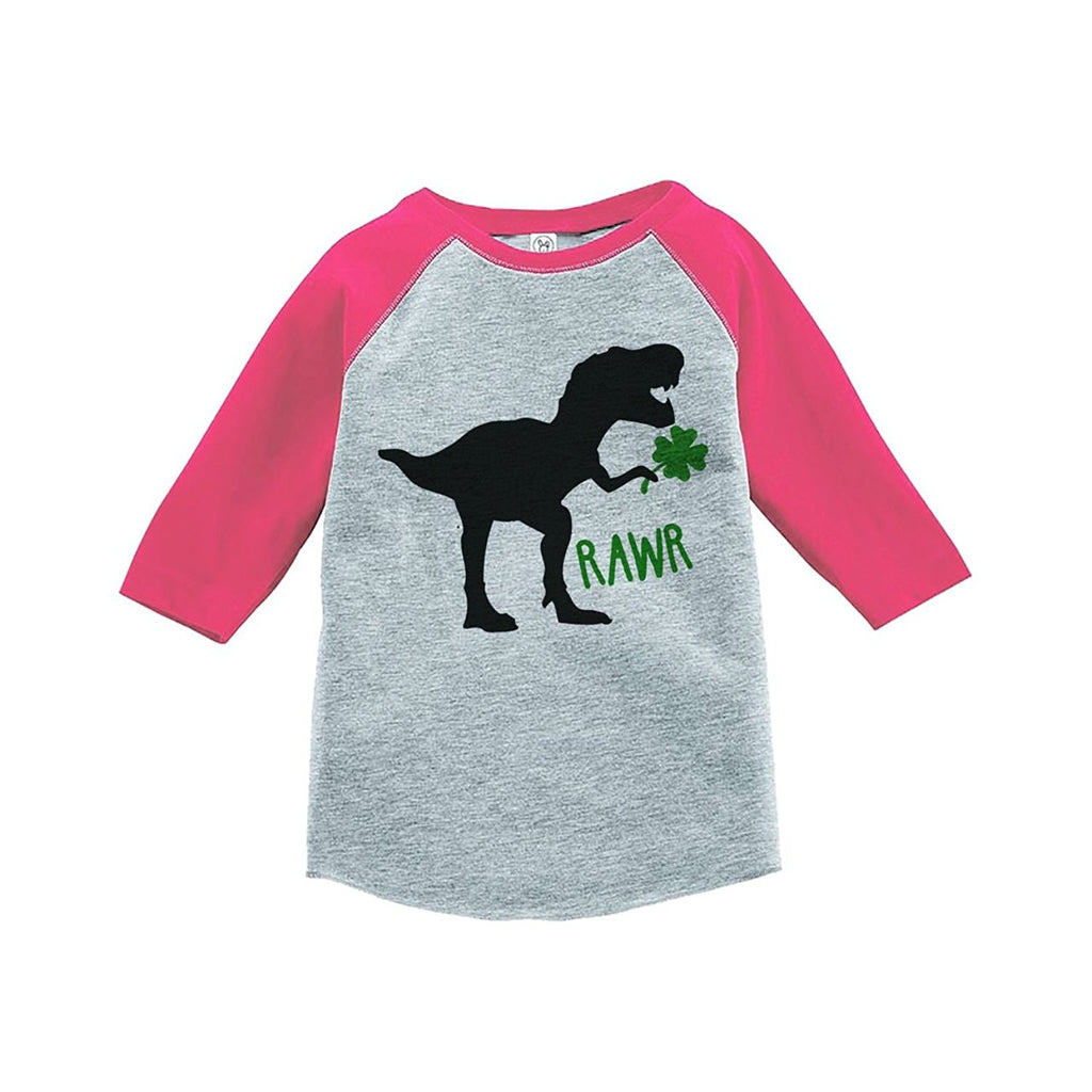 7 ate 9 Apparel Kids Dinosaur St. Patricks Day Grey Raglan