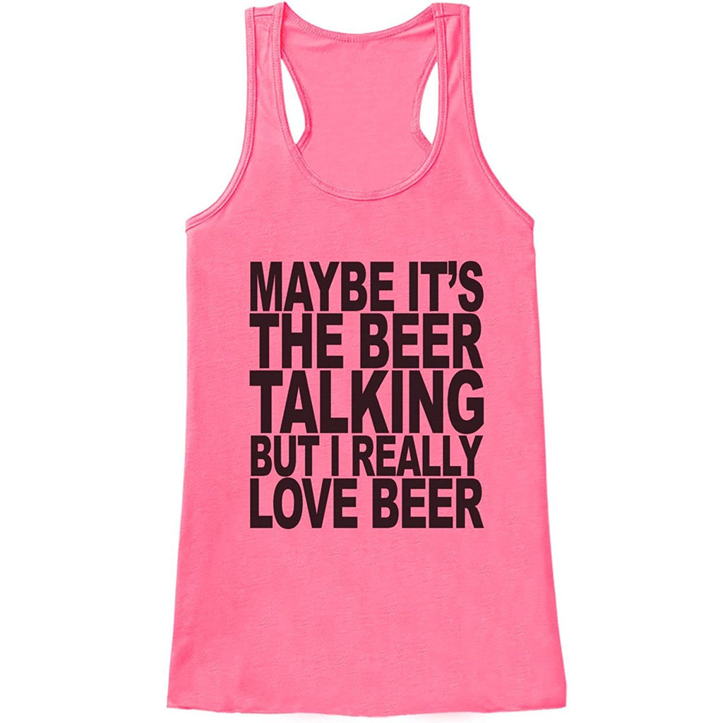 7 ate 9 Apparel Womens I Love Beer Funny Tank Top