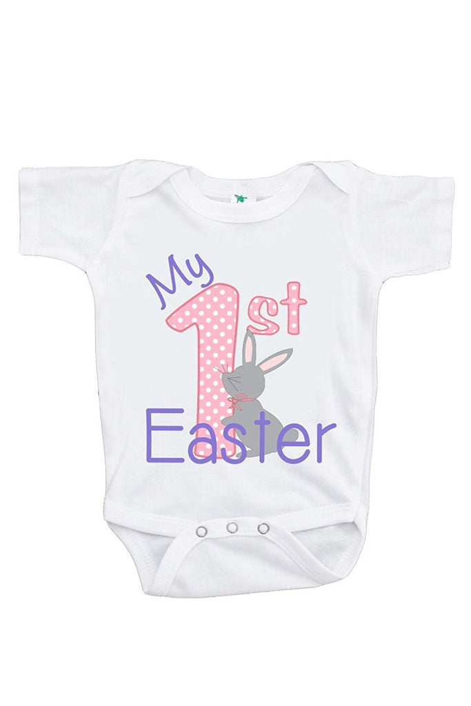bf6d0ee22 7 ate 9 Apparel Baby Girls' Novelty My 1st Easter Onepiece