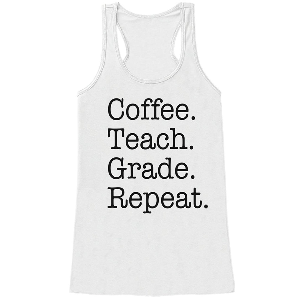 7 ate 9 Apparel Womens Coffee. Teach. Repeat. Tank Top
