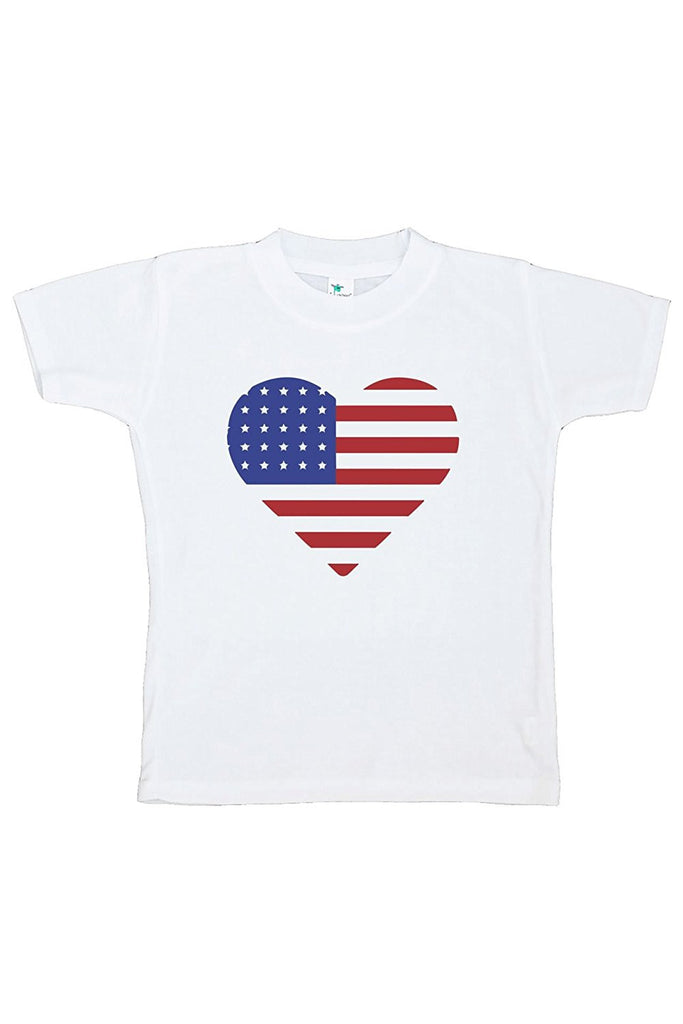 7 ate 9 Apparel Kids Heart Flag 4th of July T-shirt