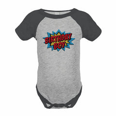 7 ate 9 Apparel Boy's Super Hero Birthday Grey Raglan Onepiece