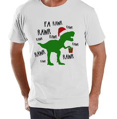 7 ate 9 Apparel Mens Dinosaur Christmas T-shirt