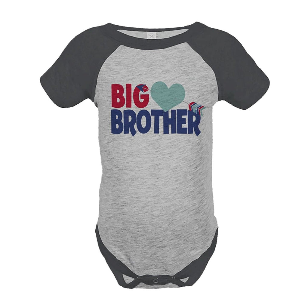 7 ate 9 Apparel Boy's Big Brother Happy Valentine's Day Grey Onepiece
