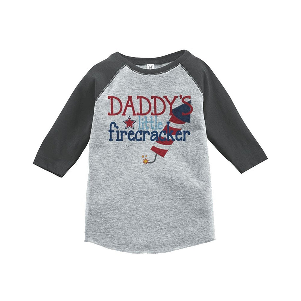 7 ate 9 Apparel Daddy's Firecracker 4th of July Raglan Tee