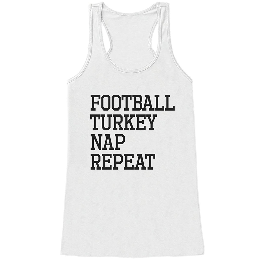 7 ate 9 Apparel Womens Football Turkey Nap Repeat Tank Top