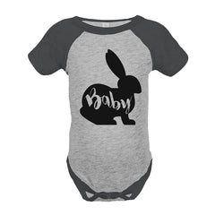 7 ate 9 Apparel Baby's Baby Bunny Happy Easter Grey Onepiece
