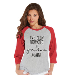 7 ate 9 Apparel Women's Promoted to Grandma Pregnancy Announcement Baseball Tee