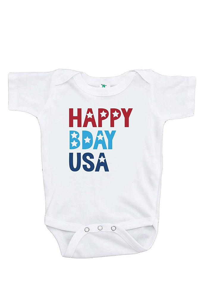 7 ate 9 Apparel Kids Happy Bday USA 4th of July Onepiece
