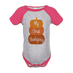 7 ate 9 Apparel Baby's First Thanksgiving Onepiece