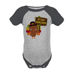 7 ate 9 Apparel Baby's My First Thanksgiving Onepiece