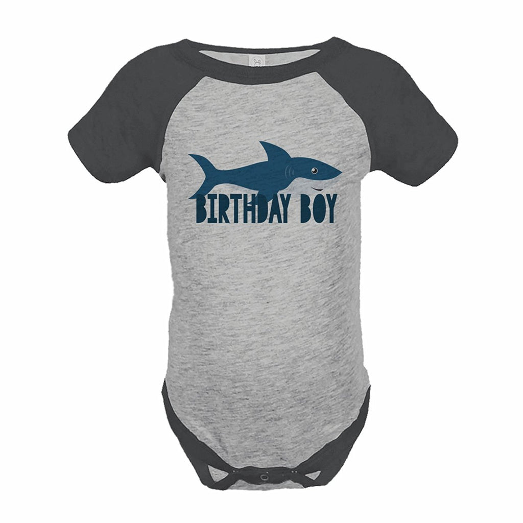 7 ate 9 Apparel Boy's Shark Birthday Grey Raglan Onepiece