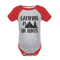 7 ate 9 Apparel Unisex Camping is in Tents Outdoors Raglan Onepiece
