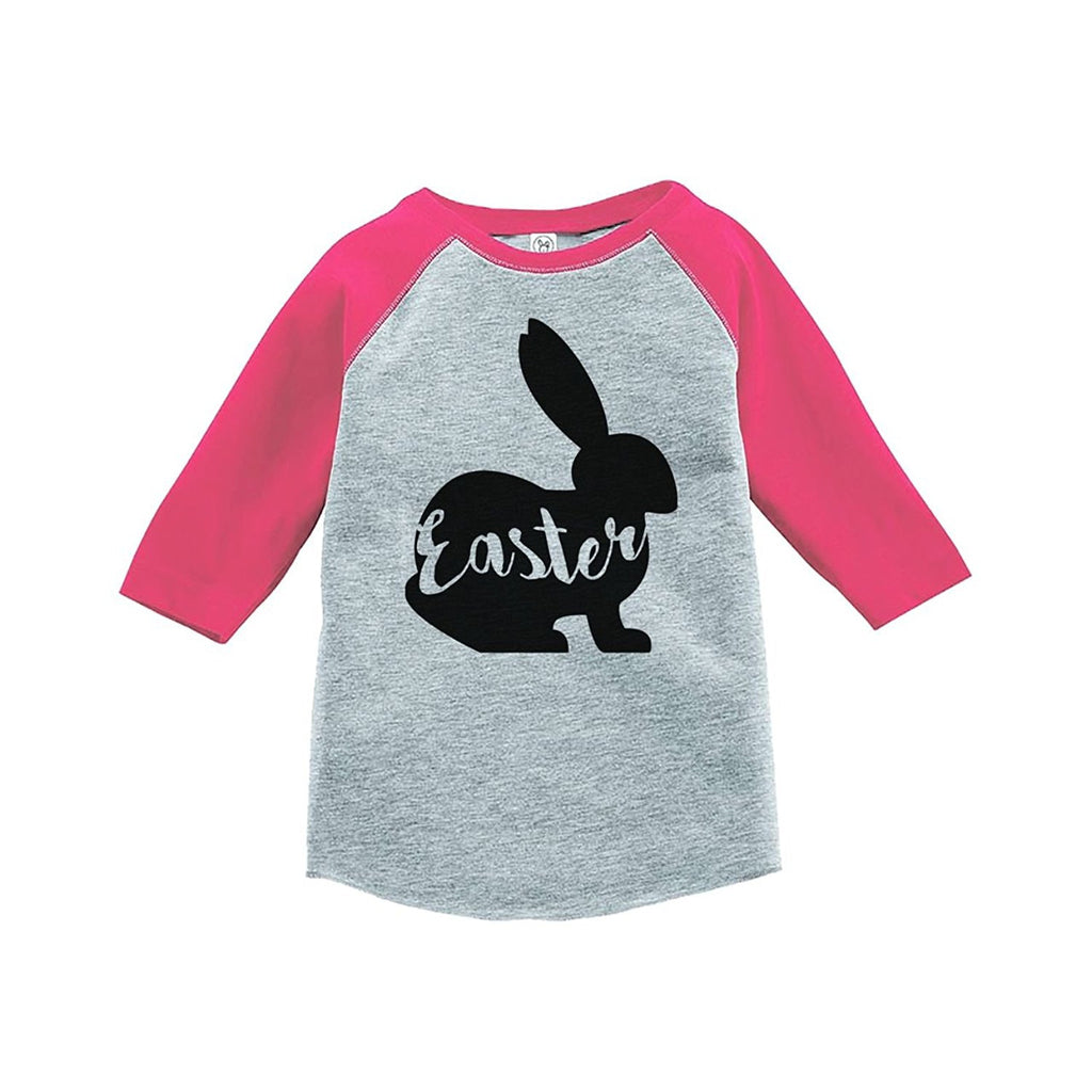 7 ate 9 Apparel Baby's Easter Bunny Happy Easter Pink Raglan