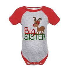 7 ate 9 Apparel Baby's Big Sister Christmas Onepiece Red