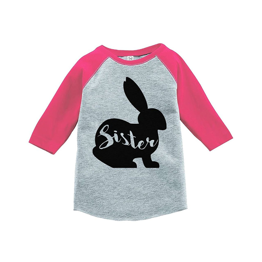 7 ate 9 Apparel Baby Girls Sister Bunny Happy Easter Pink Raglan