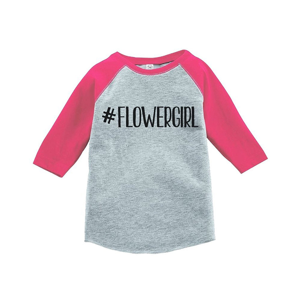 7 ate 9 Apparel Baby Girl's Hashtag Flower Girl Wedding Raglan Tee