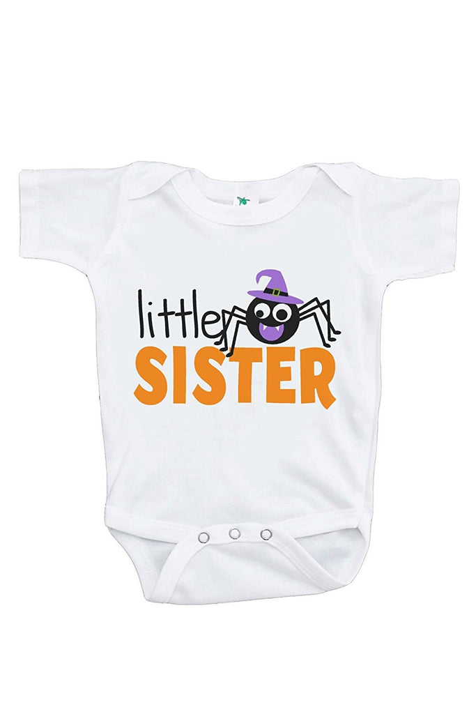 7 ate 9 Apparel Baby's Little Sister Halloween Onepiece