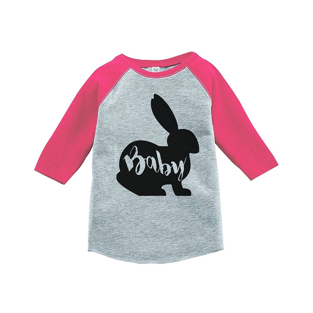 7 ate 9 Apparel Baby's Baby Bunny Happy Easter Pink Raglan