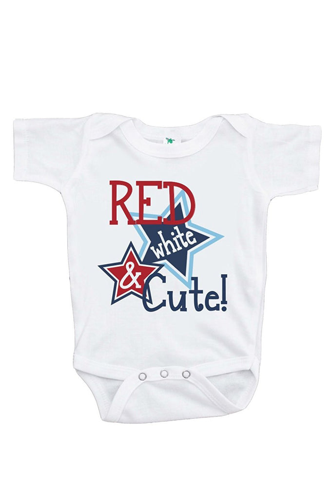 7 ate 9 Apparel Baby Girls' Red White and Cute 4th of July Onepiece